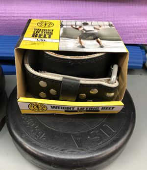"""New GOLDS GYM Leather Weight Lifting Training Belt back support 34""""-42"""" L/XL for Sale in Stuart, FL"""