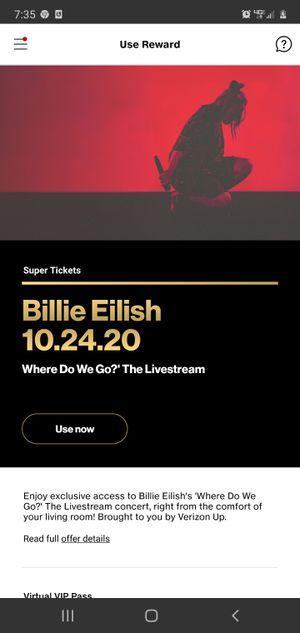 Billie Eilish Virtual Concert Tickets! for Sale in Plano, TX