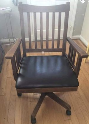 Wooden and leather rolling office chair for Sale in Alexandria, VA