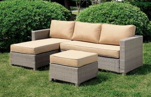 TAN DARK GREY PATIO OUTDOOR SECTIONAL SOFA CHAISE OTTOMAN FURNITURE for Sale in San Diego, CA
