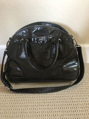 Authentic Prada Black Leather and Hunter Green Nylon Bauletto Bowler Bag for Sale in Scottsdale, AZ