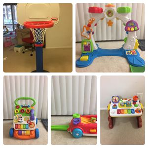 Little Tikes Toy Basketball Set, Playskool Rocktivity Sit Crawl 'n Stand Band Playset With Lights Music Sounds ,VTech Sit-to-Stand Learning Walker, F for Sale in Rockville, MD