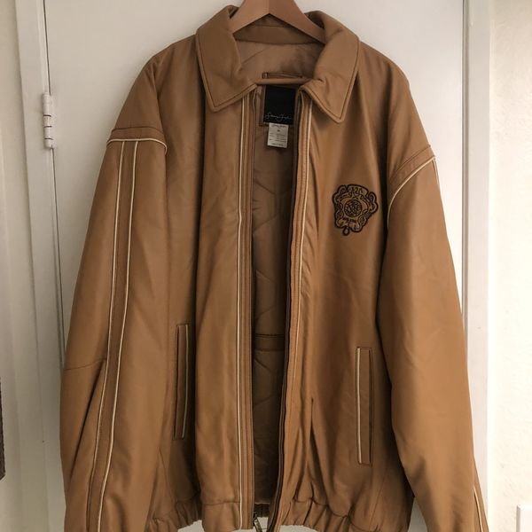 Rare Sean John Jacket Soft Butter Leather double dragon coat Size 4x Used