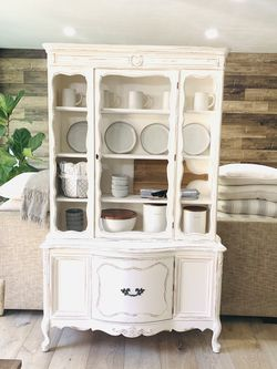 Antique And Unique China Cabinet ( Farmhouse / Cottage / French Provincial / Shabby Chic Style ) for Sale in Anaheim,  CA