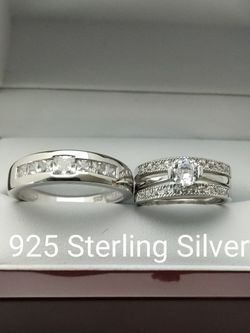 New with tag Solid 925 Sterling Silver HIS & HER WEDDING Ring trio Set size 9/10/12 and 5/6/7/8/9 $250 set OR BEST OFFER ** FREE DELIVERY!!!📦🚚 ** for Sale in Phoenix,  AZ