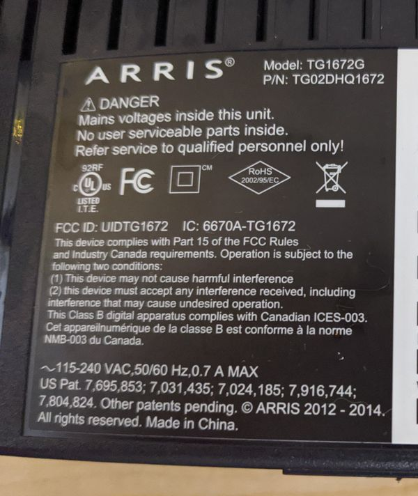 Arris Xfinity Comcast business Internet Modem/Router