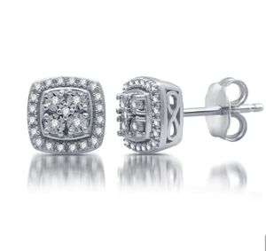1/10 CT. T.W. Genuine Diamond Stud Earrings in Sterling Silver for Sale in Avonmore, PA