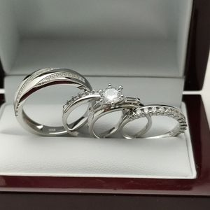 New with tag Solid 925 Sterling Silver HIS & HER WEDDING Ring Set size 9 or 10 and 5/6 or 7 $275 set OR BEST OFFER ** FREE DELIVERY!!!📦 📫** for Sale in Phoenix, AZ