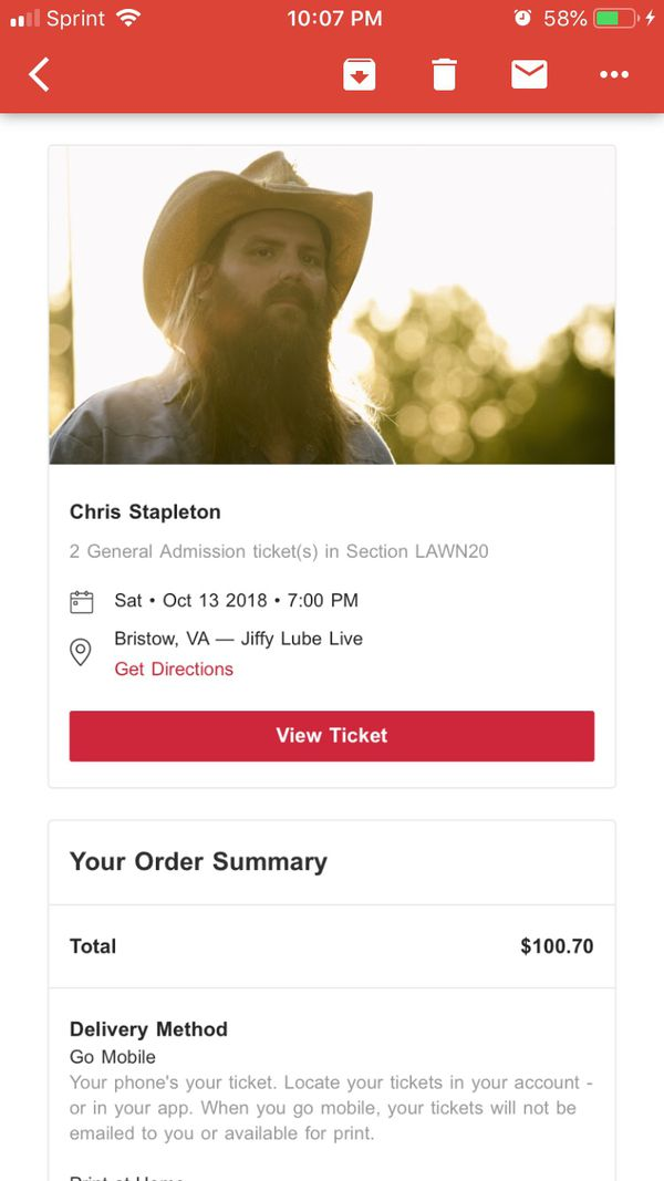 Chris Stapleton concert tickets, Jiffy Lube Live