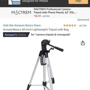 AmazonBasics 60-Inch Lightweight Tripod with Bag for Sale in San Jose, CA