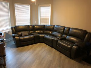 (Negotiable Price) Brand new, leather reclining couch with charger ports and storage room for Sale in Atlanta, GA