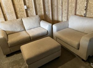 Beige Couch Set with Ottoman for Sale in Aurora, CO