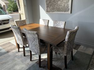 New dark oak wood dining table and 6 new upholstered chairs dining set for Sale in Surprise, AZ