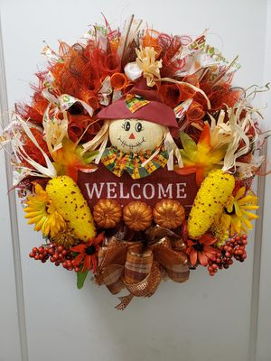 Autumn wreath With Scarecrow Welcome for Sale in Portland, OR