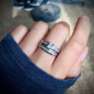 S925 Princess Cut Ring Set Size 5/6/7/9 SRC15932 for Sale in Fresno, CA