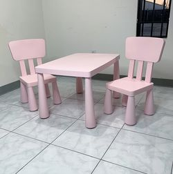 """$50 (new) children kids plastic table & 2 chair set, table 30x21x19"""", chair 12x12x26"""" (pink)  for Sale in El Monte, CA"""