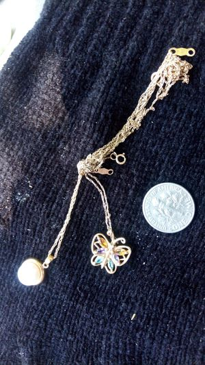 14KGOLD butterfly pendant w.NECKLACE10K Pearl pendant with necklace for Sale in San Diego, CA