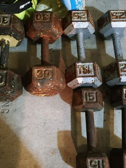 set of barbells 30s 25s and 15s for Sale in Riverside,  CA