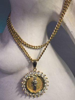 18k GPL San Judas Pendant With Cuban Chain Necklace for Sale in Nashville, TN