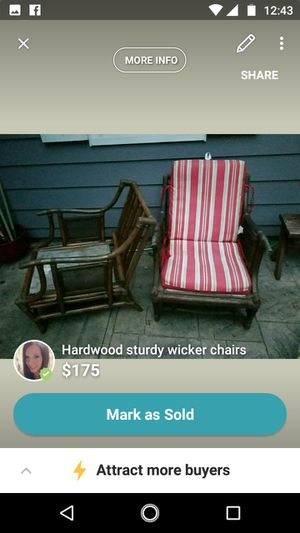 Great condition heavy duty stained wicker chairs for Sale in Rhinelander, WI