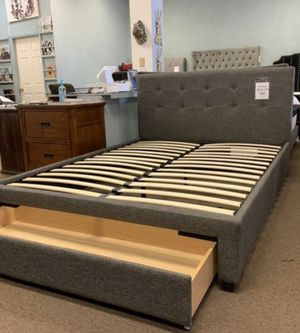 Brand New Queen Size Grey Upholstered Platform Bed w/Storage Drawer (3 Color Options) for Sale in Silver Spring, MD