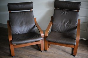 2 IKEA Poang leather chairs / armchairs for Sale in Bellevue, WA