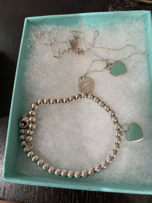 Authentic Tiffany & Co necklace and bracelet teal heart for Sale in Milpitas, CA