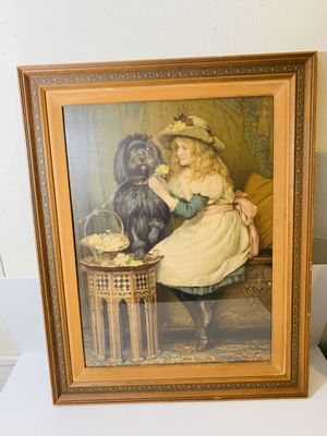 "Vintage "" Little Girl with Puppy "" Wood & Glass Frame Wall Art Decor for Sale in Downey, CA"