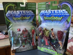 Mattel Masters of the Universe Vs SnakeMen King Hssss & Zodak Action Figures- Great Condition! for Sale in El Paso, TX