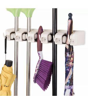Mop Holder Hanger 5 Position 6 Hook Kitchen Storage Broom Organizer Wall Mounted for Sale in Scottsdale, AZ