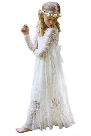 Fancy Ivory Lace Flower Girl Dress Boho Rustic (Size 8) for Sale in Kissimmee, FL