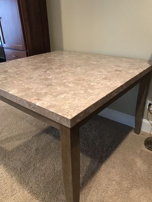 DINING TABLE WITH CHAIRS MARBLE SLAB TOP MODERN PERFECT SET for Sale in Cleveland, OH