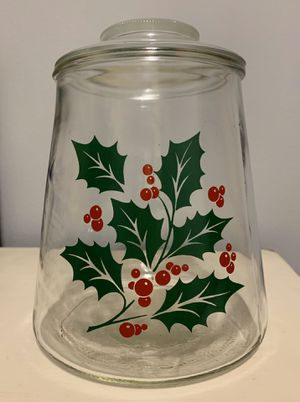 "Vintage Bartlett Collins holly design trapezoid glass cookie jar with lid. 8 1/2 tall x 6 1/2"" wide at the base and 5 1/4"" wide at the opening. Exce for Sale in Tacoma, WA"