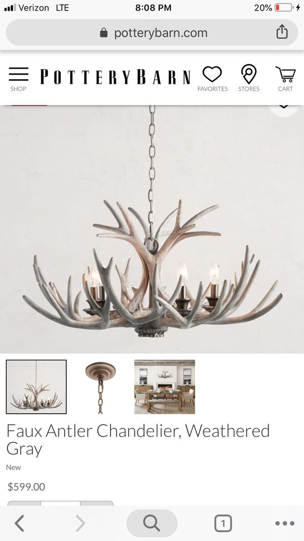 Faux Antler Chandelier, Weathered Gray, Small