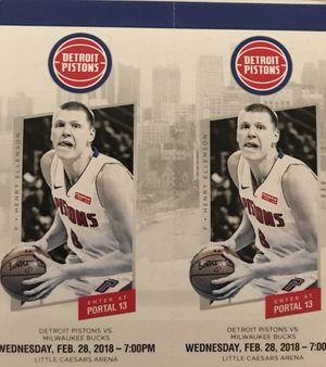 Detroit Pistons vs Milwaukee Bucks Wednesday 2/28 for Sale in Detroit, MI