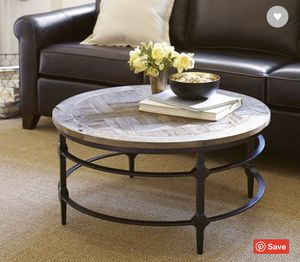 Parquet Reclaimed Wood Round Coffee Table, Pottery Barn for Sale in Long Beach, CA