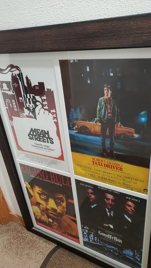deniro/ Scorsese 4 film poster set, matted and framed, 17x11 movie posters 4 in 1, approx 38x26 for Sale in Portland, OR