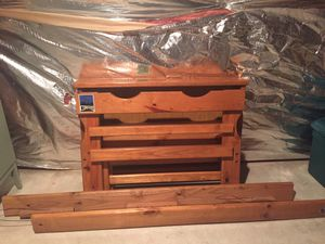 Twin bed hardwood frame w/ bookcase headboard for Sale in Leesburg, VA