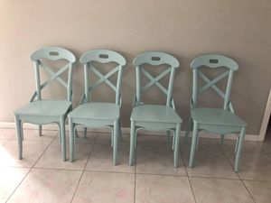 Pottery Barn Sea Foam Green Dining Chairs for Sale in Jupiter, FL
