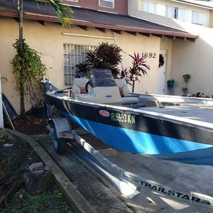 Bass Traker ,With Trailer...1000...I Have The Motor For It , Lower Unit Forward Gear Needs Fixing.. for Sale in Homestead, FL