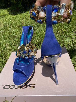 blue suede francesco sacco platform heels for Sale in Alexandria, VA