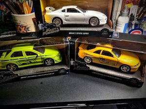 1:24 diecast, Fast & Furious, new (3) Cars, Leon's Skyline & Brian's Supra /Lancer for Sale in Racine, WI