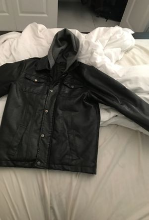 Mens Hooded leather jacket for Sale in Miami, FL