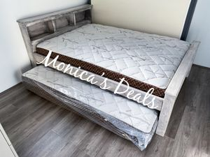Full size solid wood bed & twin roll out $380 for Sale in South Gate, CA