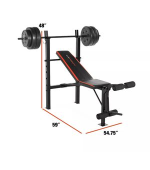 Bench Bar Press with 100 lb Weight Set Home Gym Combo Strength Standard CAP for Sale in Salisbury, MD