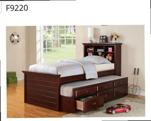 CLOSEOUTS LIQUIDATION SALE BRAND NEW TWIN SIZE BED FRAME WITH TRUNDLE AND DRAWERS ADD MATTRESS ALL NEW FURNITURE PDX9220 for Sale in Pomona,  CA