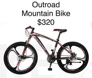 Outroad fashion 3-spoke front-suspension mountain bike with dual disc brakes for that cross-town trek for Sale in Azalea Park, FL