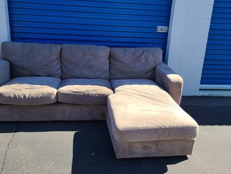 Micro Fiber Light Brown Sectional Sofa Couch L Shaped Revirsable Chaise Ottoman $200Obo FREE DELIVERY for Sale in Phoenix,  AZ