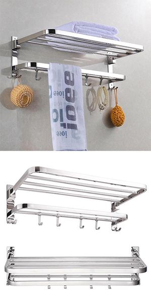 """Brand New $25 Foldable 304 Stainless Steel Towel Rack Bar Wall Mounted Holder Bathroom Shelf, 23x9x7"""" for Sale in South El Monte, CA"""