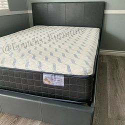 Queen Gray Tufted Bed W. Orthopedic Mattress Included for Sale in Downey,  CA